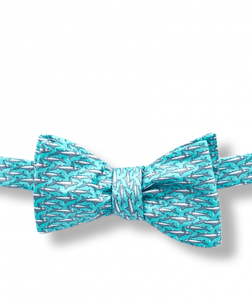 Aqua Shark Bow Tie tied