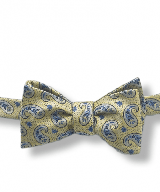 Aura Yellow Paisley Bow Tie tied