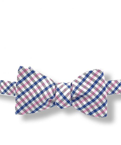 Bernard-blue-pink-gingham-silk-self-tie-bow-tie that is shown tied