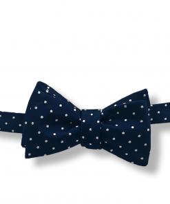 Churchill Navy and White Polka Dot Bow Tie tied