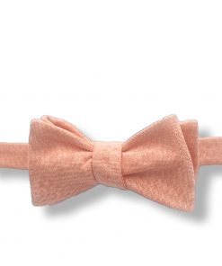 Coral Chambray Bow Tie tied