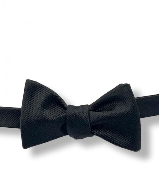 Deep Black Grosgrain Bow Tie tied