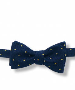 Harbinger Navy and Gold Polka Dot Bow Tie tied