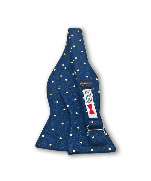 Harbinger Navy and Gold Polka Dot Bow Tie untied