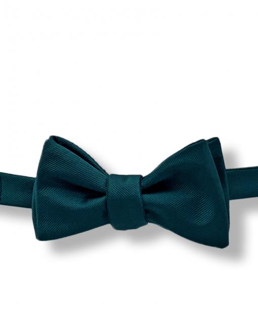 Hunter Green Grosgrain Bow Tie tied