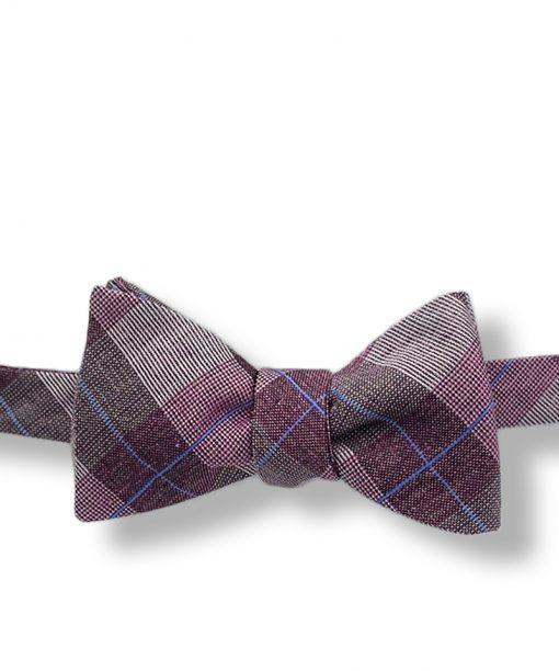 Isaac-burgundy-plaid-silk-self-tie-bow-tie shown tied