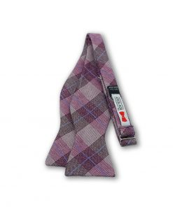 Isaac-burgundy-plaid-silk-self-tie-bow-tie shown untied