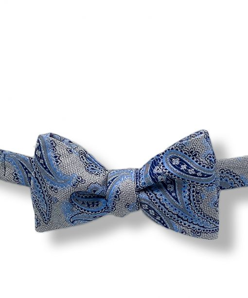 Islay-deep-gray-paisley-silk-self-tie-bow-tie that is shown tied