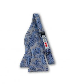 Islay-deep-gray-paisley-silk-self-tie-bow-tie that is shown untied