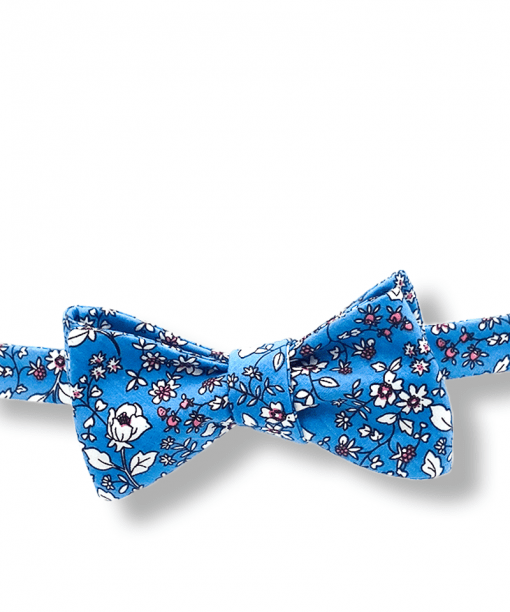 Japanese Blue Floral Bow Tie tied