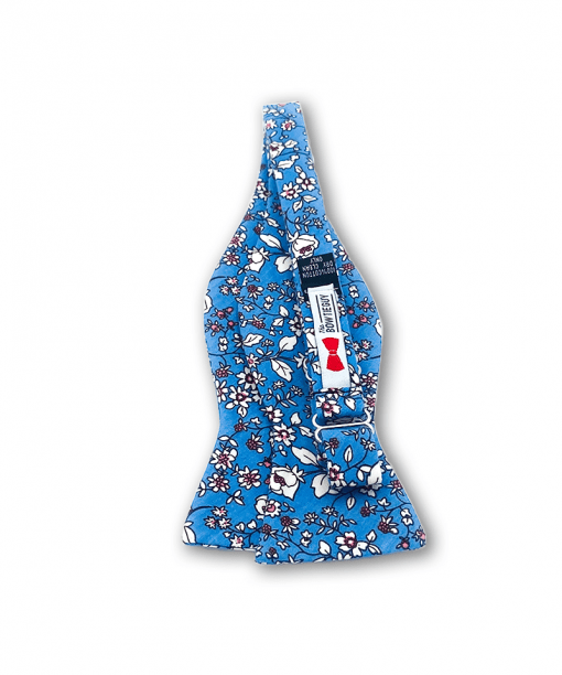 Japanese Blue Floral Bow Tie untied