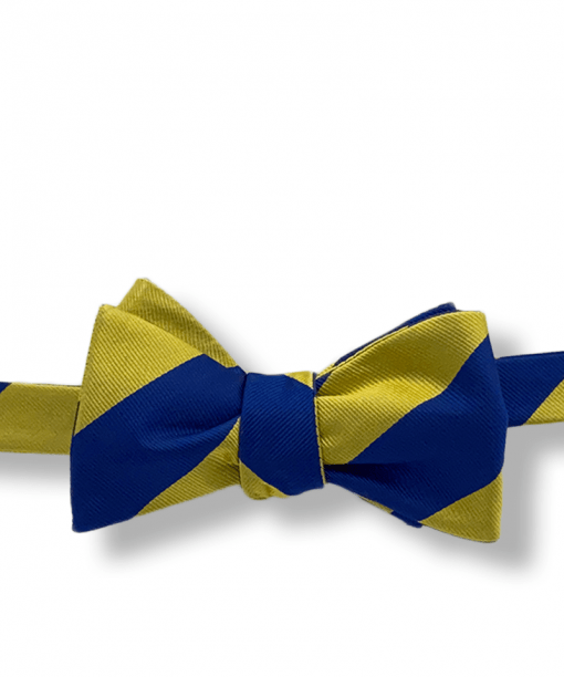 Johannes Gold and Navy Blue Striped Bow Tie tied