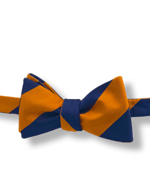 Johannes Orange and Navy Blue Striped Bow Tie Tied