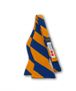 Johannes Orange and Navy Blue Striped Bow Tie untied