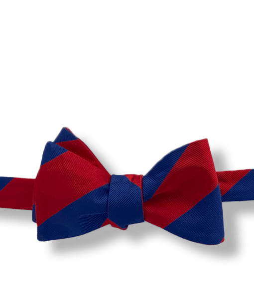 Johannes Red and Navy Blue Striped Bow Tie tied