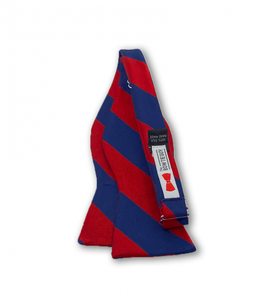 Johannes Red and Navy Blue Striped Bow Tie untied
