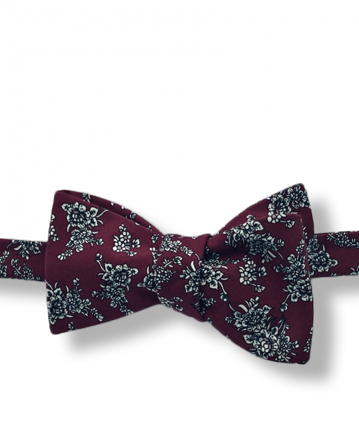 Kircaldy Burgundy Floral Bow Tie tied