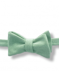 Mint Chambray Bow Tie tied