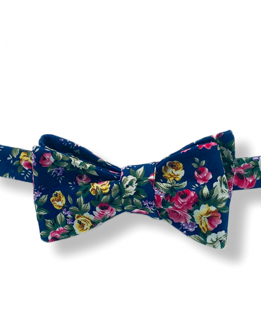 Navy Blue Big Bold Floral Bow Tie tied