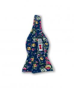Navy Blue Big Bold Floral Bow Tie untied