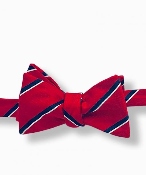 Scholar Red Striped Bow Tie tied