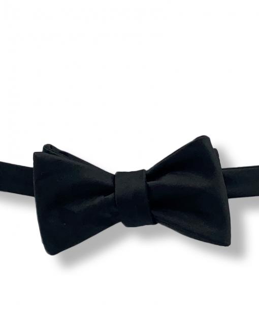 Solid Black Satin Bow Tie tied