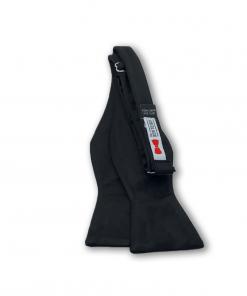 Solid Black Satin Bow Tie untied