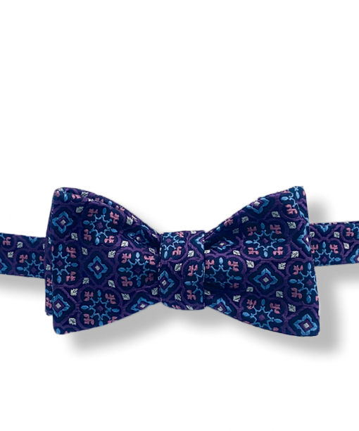 Stained Glass Purple Bow Tie tied