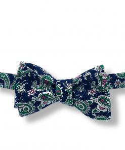 Yokono Navy Blue and Green Paisley Bow Tie tied