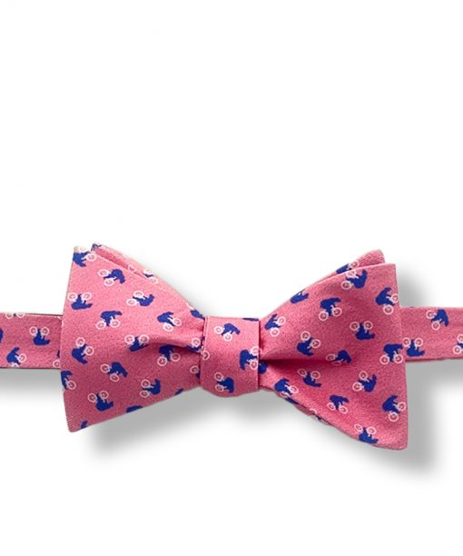 bears on bikes pink novelty silk bow tie that is self tie and shown tied