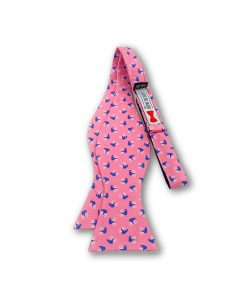 bears on bikes pink novelty silk bow tie that is self tie and shown untied