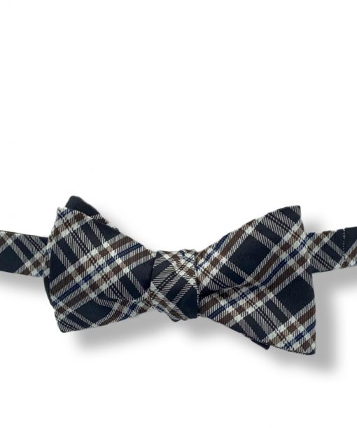 black brown plaid silk bow tie that is self tie and shown tied
