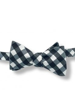 black gingham cotton bow tie that is self tie and shown tied