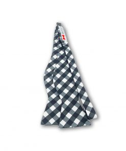 black gingham cotton bow tie that is self tie and shown untied