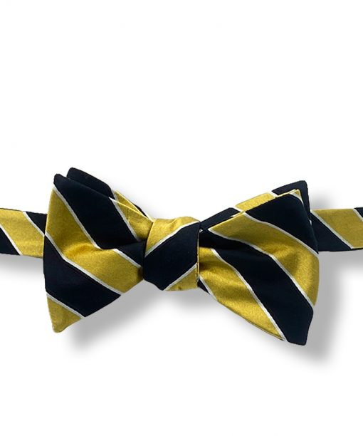 black and gold striped silk self tie bow tie that is shown tied