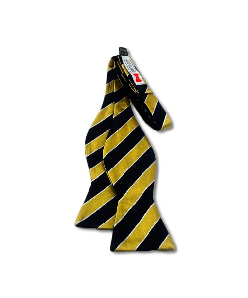 black and gold striped silk self tie bow tie that is shown untied
