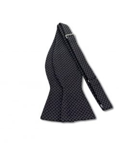 black jacquard italian silk bow tie that is self tie and shown untied