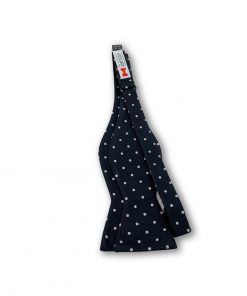 black silver polka dot silk bow tie that is self tie and shown untied