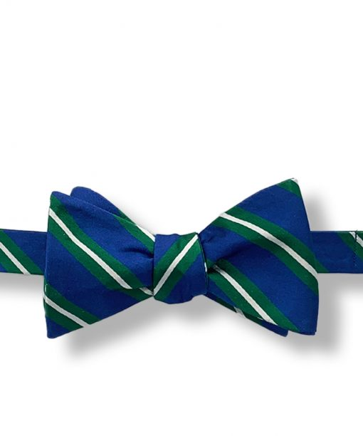 blue green white striped silk bow tie that is self tie and shown tied