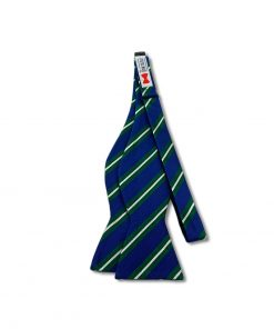 blue green white striped silk bow tie that is self tie and shown untied