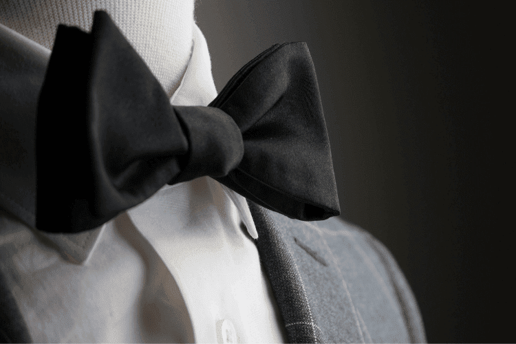 a black bow tie with high quality silks