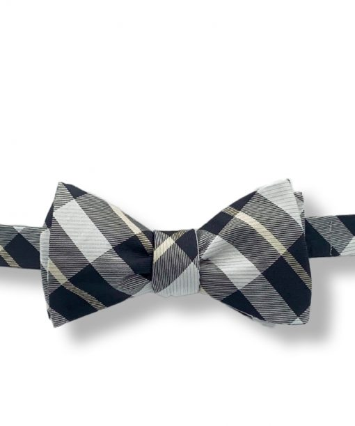 brown gray coffeehouse plaid silk bow tie that is self tie and shown tied
