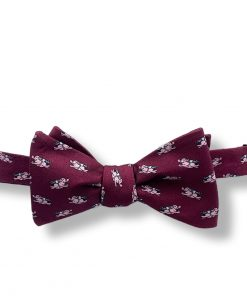 burgundy pigs fly novelty silk bow tie that is self tie and shown tied