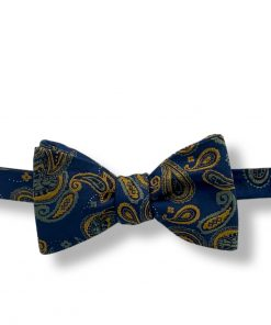 dark green paisley silk bow tie that is self tie and shown tied