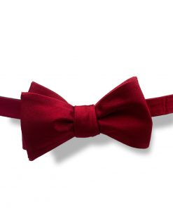 dark red wine silk bow tie that is self tie and tied