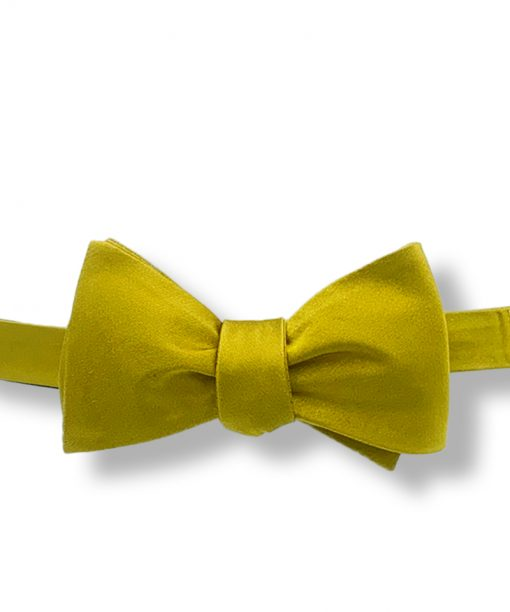 gold silk self tie bow tie that is shown tied