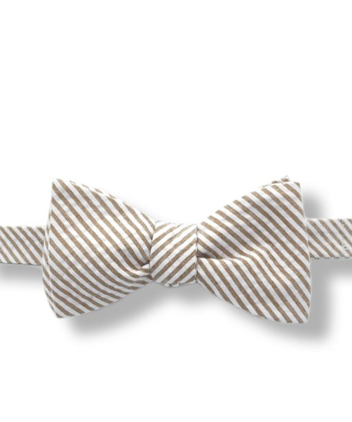 gold and white seersucker bow tie that is self tie and shown tied