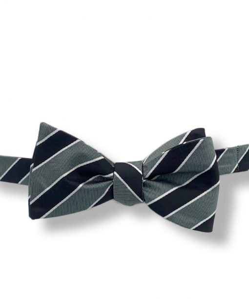gray and black striped silk bow tie that is self tie and shown tied