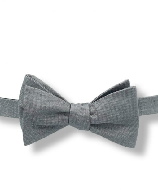 gray chevron silk bow tie that is self tie and shown tied