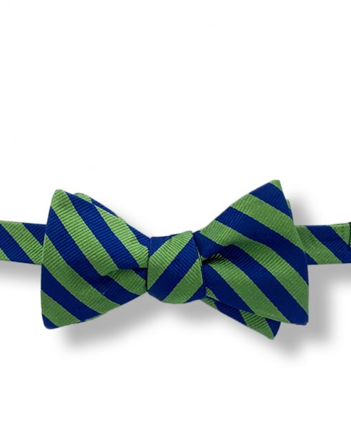 green and blue striped grosgrain silk bow tie that is self tied and shown tied
